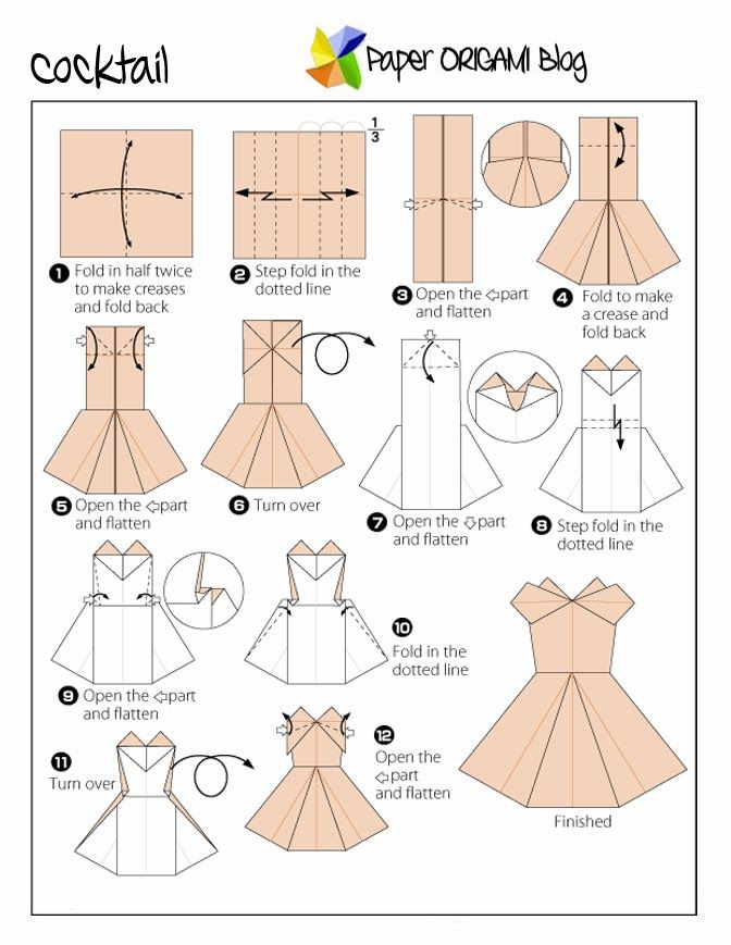 free origami dress instructions - Google Search
