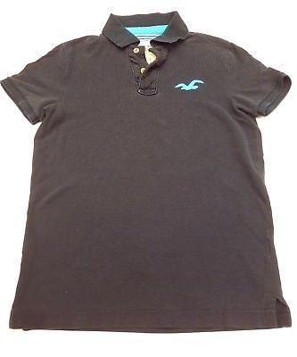 e47f6cc31 Hollister Mens Small Navy Blue Polo shirt Teal bird logo collar cotton  uniform