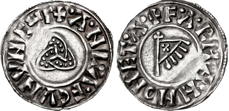 A penny of the Viking ruler Anlaf Sihtricsson, who ruled York from 941-44 and 948-52. The obverse depicts a 'triquetra' symbol and the reverse a triangular standard and the name of the moneyer, Farman.
