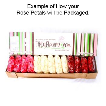 FiftyFlowers.com - Rose Petals White with Pink Tips