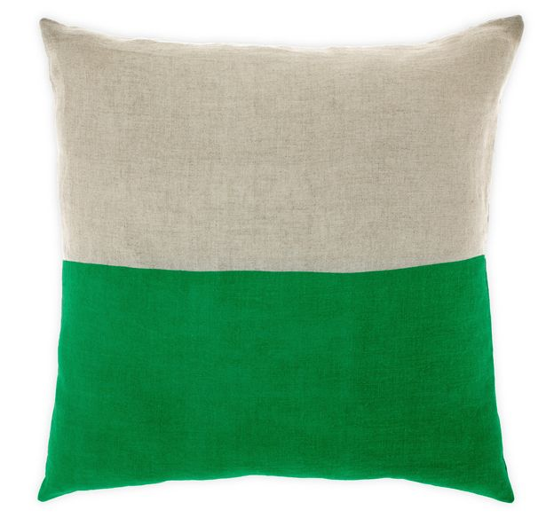 Dipped linen cushion $69.00  Availability: arrivng mid Mar PRE-ORDERS taken Brighten any room with this gorgeous emerald green cushion featuring a two tone dipped design. The cushion cover is hand screen printed on pure linen by traditional skilled artisans in India.  Dimensions: 50cm square