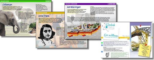 Enkele taakkaarten (o.a. Vulkanen, Anne Frank, Sinterklaas, e.a.) ingesproken en als mp3 te gebruiken om in klas te beluisteren