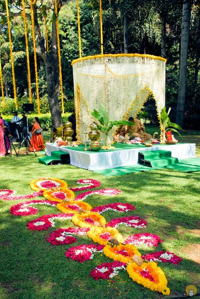 floral mandap, floral rangoli, south indian wedding decor