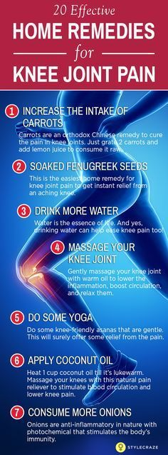 Simple Remedies for Knee Joint Pain. Knee pain can strike suddenly or may creep up silently. No matter how one gets it, knee pain can become worse pretty quickly. No longer an ailment that inflicts only the old, knee pain today has become common for people of all ages. We have listed few home remedies for knee joint pain that can give you relief from the pain.