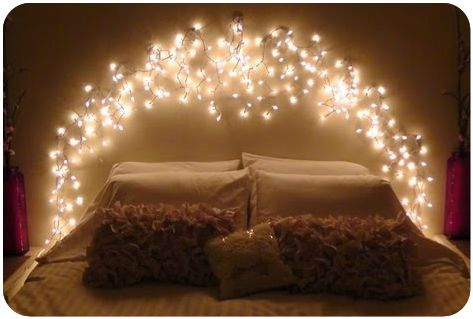 How to Icicle Light Faux Headboard
