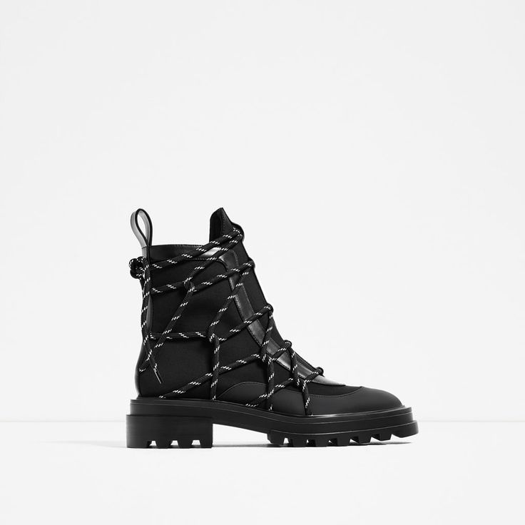 ZARA - WOMAN - LACE-UP RUBBERISED ANKLE BOOTS