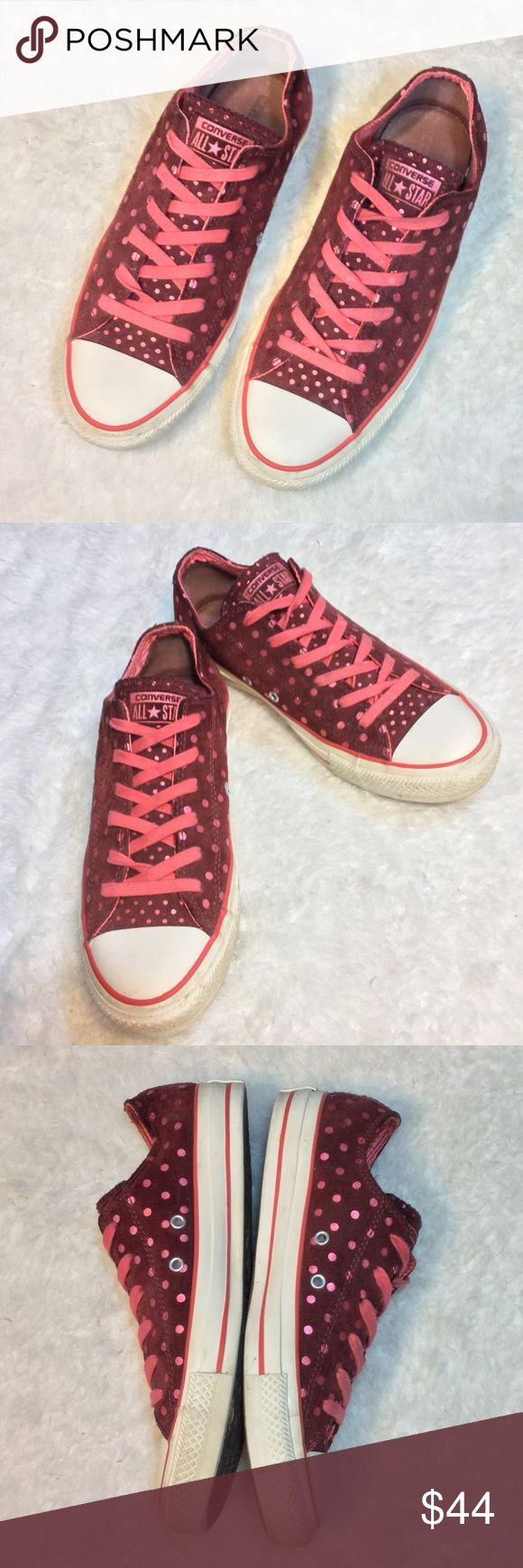 Converse Polka dot All Star Sneakers Burgandy SUEDE Converse All Stars with metallic/ reflective pink polka dot pattern & logo. Unisex: Women's size 9, Men's size 7.  Gently used shoes, only minor signs of wear. Please see pics. (Some minor discoloration on the inside of the tongue, not visible when worn.)  I ❤️ Bundles & Offers! NO TRADES  Tags: Chuck Taylor. Chucks. Trainers. Sueded. Shiny. Unique. Punk rock. Hipster. Hip. On trend. Converse Shoes Sneakers
