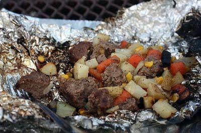 Hobo Hamburger Dinner - in the fire .
