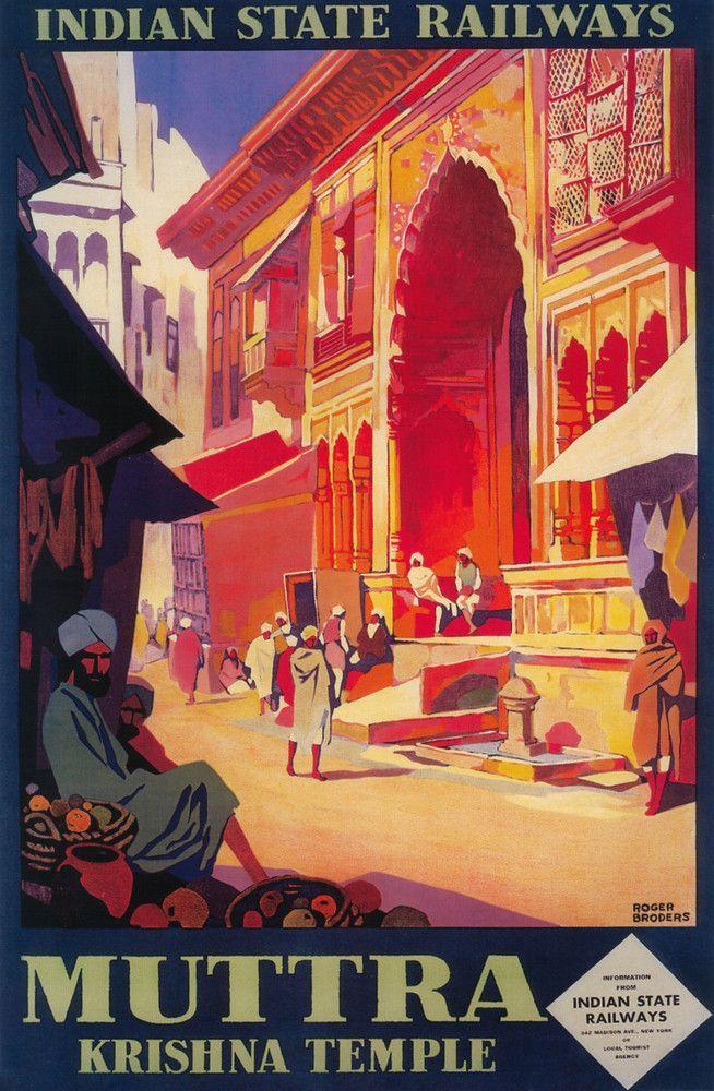 Print (India - Muttra Krishna Temple - Vintage Travel Poster)