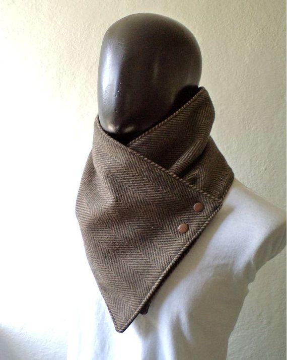 Men scarf. Men cowl,Wide, Black and brown herringbone wool with metalic snaps . Trendy, modern, chunky and cozy. on Etsy, $32.50
