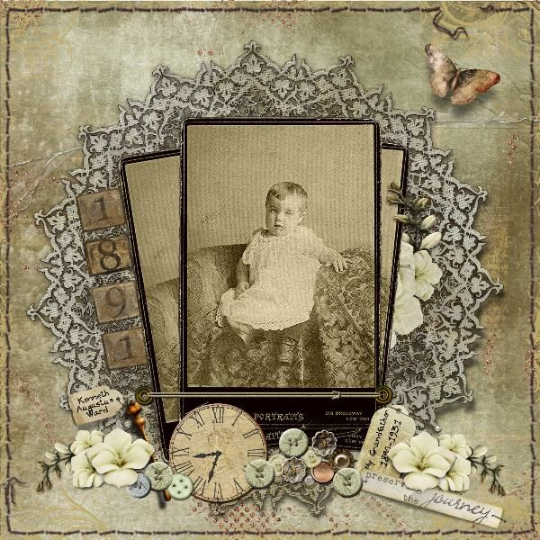 Kenneth Augustus Ward, 1891 ~ Gorgeous heritage baby page with beautiful lace edging and period embellishments. Love how the photo was broken into three segments and 'fanned.'