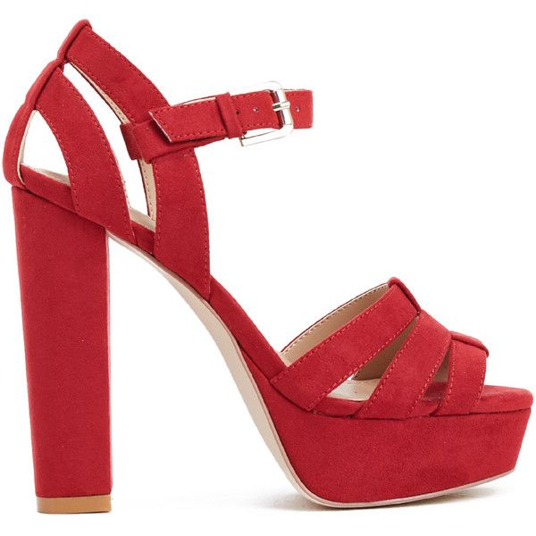Strappy block heel sandals, Red sandals
