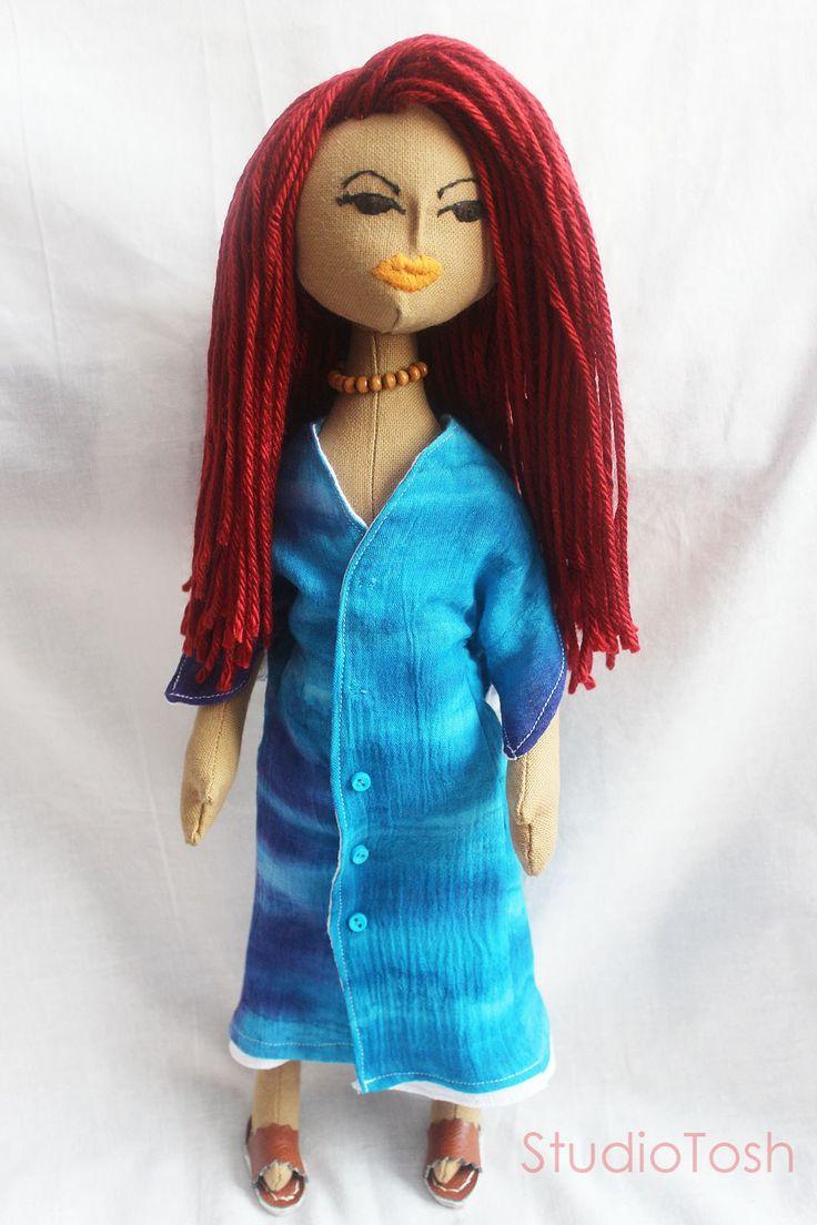 Tie-dye summer dress on cloth doll, Reyanna.