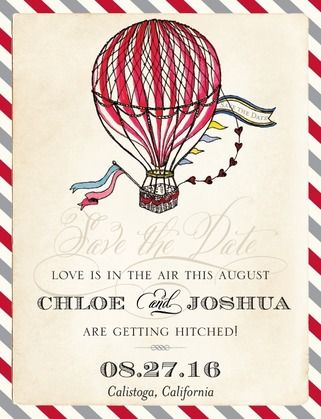 An adorable Save the Date postcard from East Six Designs, featuring an illustrated hot air balloon.