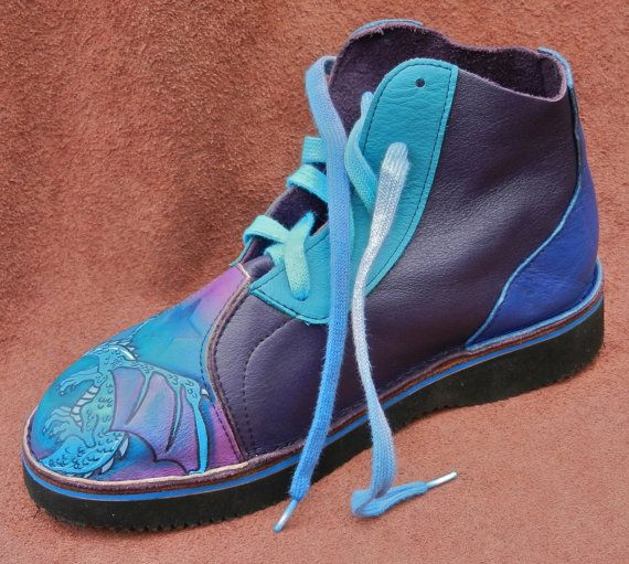 Handmade Leather  hi-tops. DRAGON.  Painting by thoseshoes on Etsy