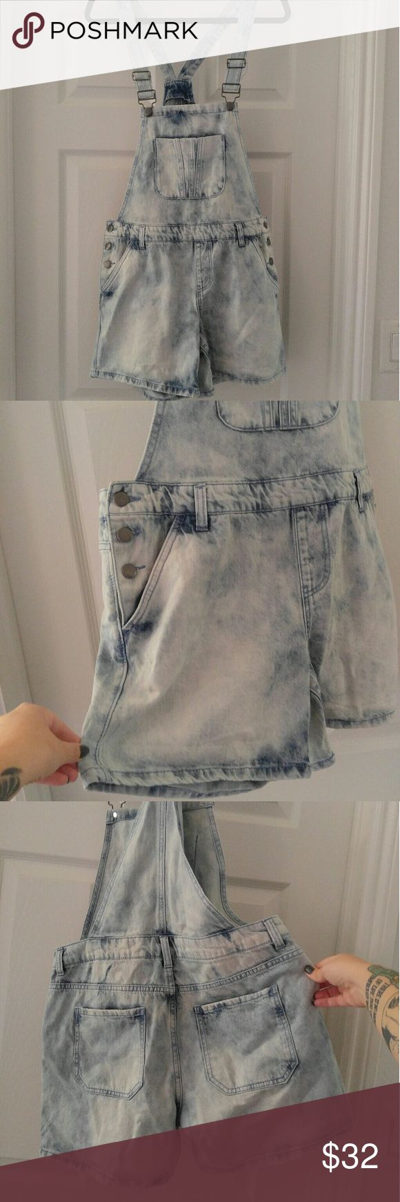 Acid Wash Shorts These are soooo cute but just too tight on my thighs.  Like brand new!  Says large but I feel better fit a medium.  Questions and offers welcomed. : ) Forever 21 Jeans Overalls