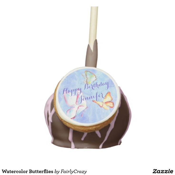Watercolor Butterflies Birthday Party Cake Pops - personalize the name. #yummy #partyfood #yummypartyfood #beautifulpartyfood