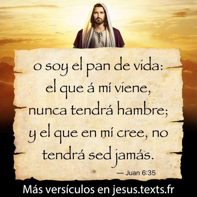 """""""o soy el pan de vida: el que á mí viene, nunca tendrá hambre; y el que en mí cree, no tendrá sed jamás."""" — Juan 6:35 https://txf.ro/m/jf278"""