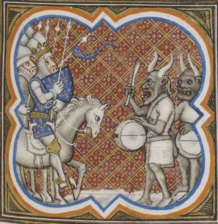 Bibliothèque nationale de France, Français 2813, detail of f. 119r (Charlemagne and disguised Saracens). Grandes chroniques de France. Paris, c1375-1380.