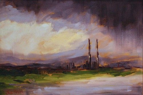 "Jane Meyler ""Moody Sky at Poolbeg"" #art #sky #stormy #paiting #DukeStreetGallery"