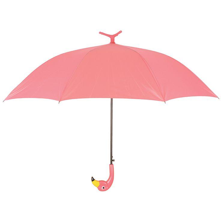 Nagy méretű, rózsaszín flamingós esernyő. Automata nyitással, fekete színű fém szerkezettel és flamingó fej markolattal ellátva.