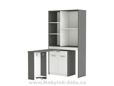 Praktická kuchyňská skříňka s barovým stolem