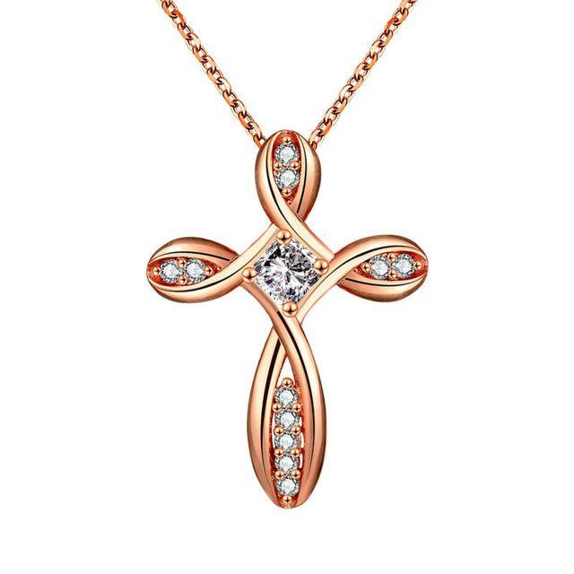 Роза ювелирного бренда 24 К золотые ожерелья крест инкрустация ааа циркон цепи 45 см мода ювелирных украшений ожерелье христианскими женского любимый