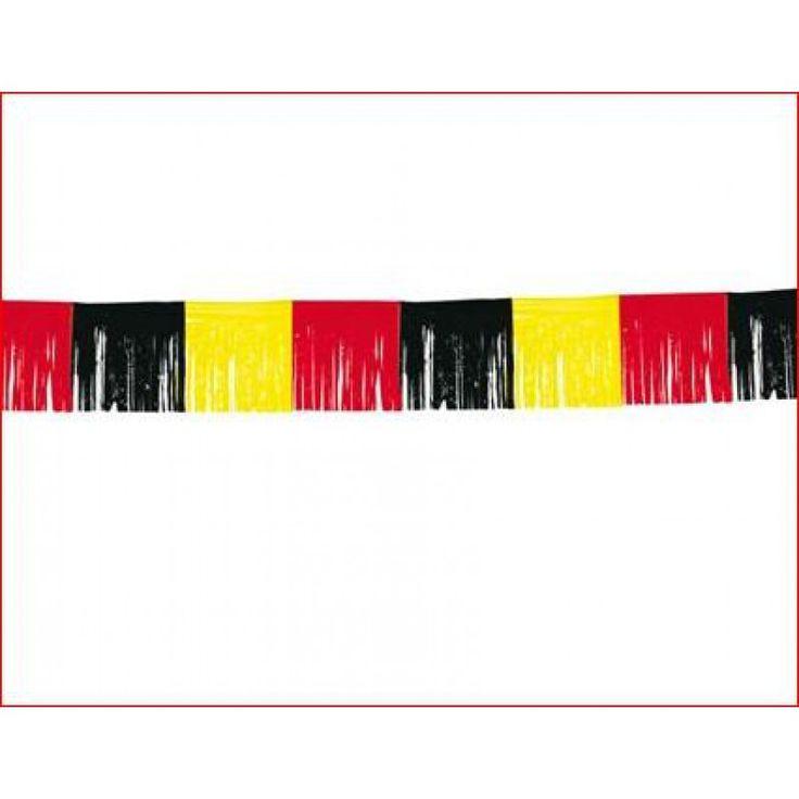 Franje slinger, Guirlande Belgie 10m Franjes slinger met mooie lange franjes wel 34cm lang (hoog) in de kleuren zwart/geel/rood de kleuren van de Belgische vlag. In een mooie PE kwaliteit.