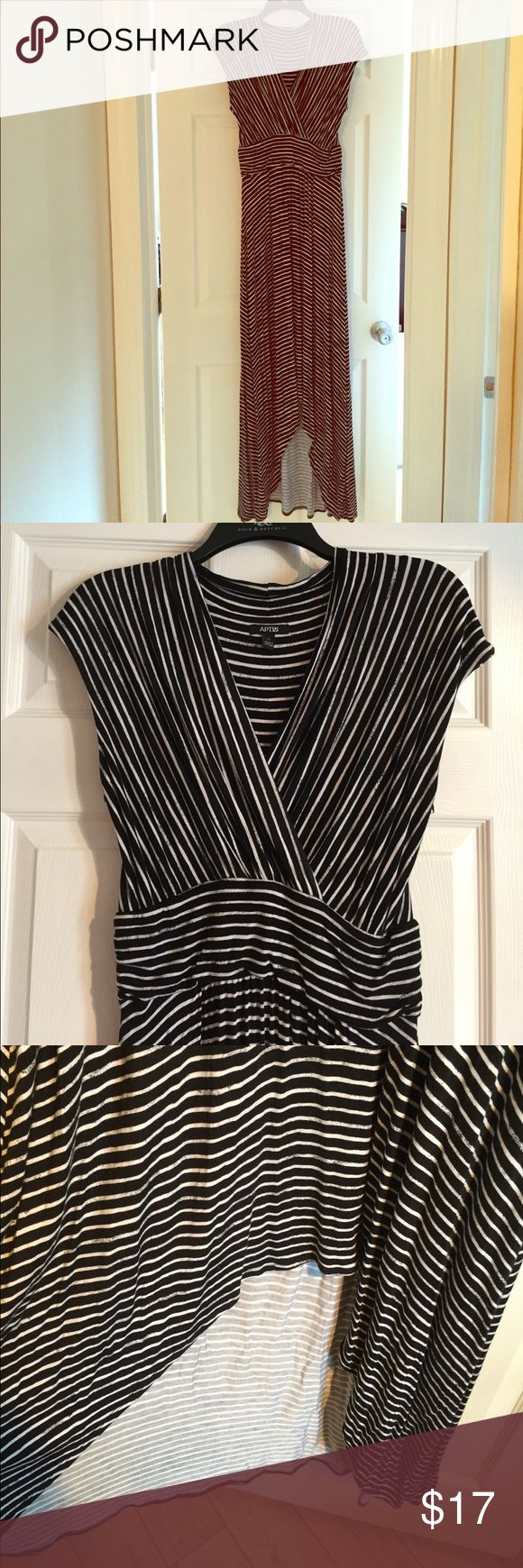 High-low dress Black and white striped Apt 9 dress worn only once! Back of dress is ankle length and front is tea length. Soft cotton perfect for summer Apt. 9 Dresses High Low