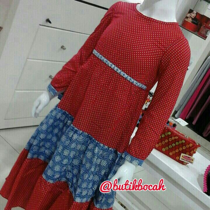 Gamis Polkatik by @butikbocah IDR 299k Warna merah kombinasi biru  Bahan katun polkadot dan batik garut Ready size S M L XL  Real clothes for real kids Proudly made in Indonesia