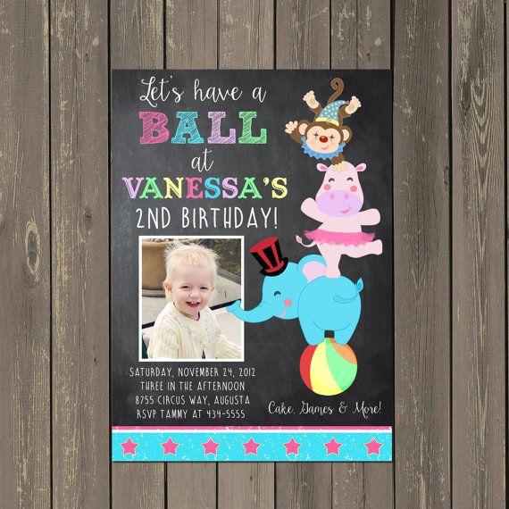 Circus Birthday Party Invitation - Big Top Invite - Circus Animals - Chalkboard Circus Invitation - Girl or Boy - Photo Invitation