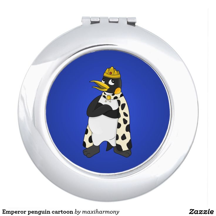 Emperor penguin cartoon compact mirrors