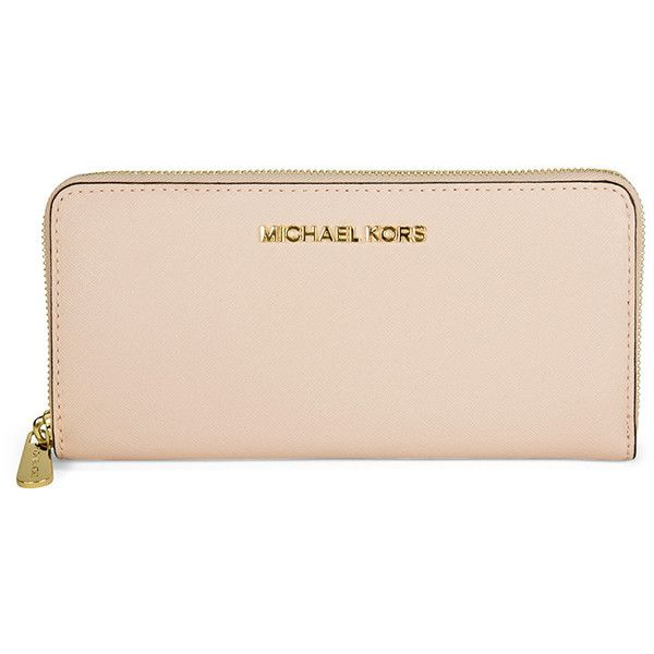 Michael Kors Jet Set Saffiano Leather Continental Wallet - Blosson ($97) ❤ liked on Polyvore featuring bags, wallets, purses, wallet, fold wallet, pink zip around wallet, hardware bag, michael kors bags and flower bag