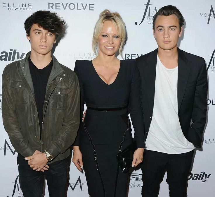 Pamela Anderson with sons Dylan and Brandon Lee. Tommy Lee is their father.