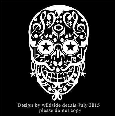 Day of the dead decal musical notes sugar skull car vinyl musician sticker