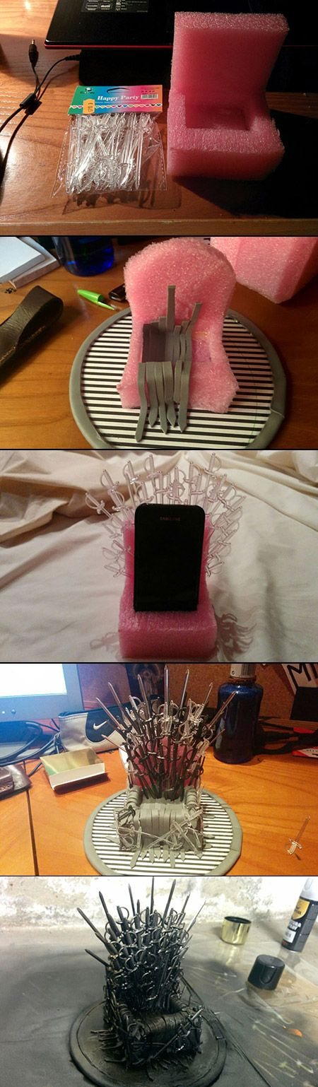 "If you tend to forget where you leave your phone, this girl has a perfect solution. Using sword-shaped sandwich picks, a sponge, some leather straps and black and metal spray paint, she created a wonderful ""Game Of Thrones""-inspired phone stand."