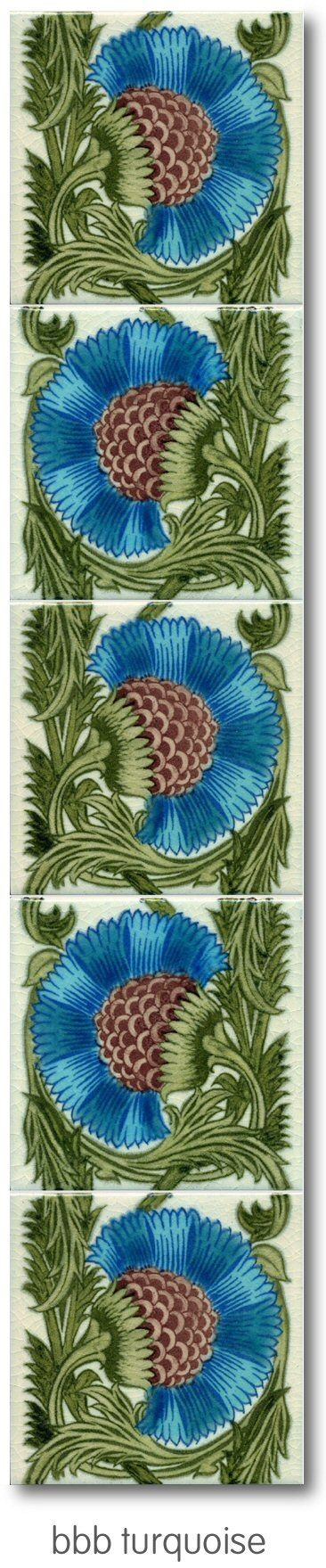 Victorian Fireplace Tiles - BBB Turquoise