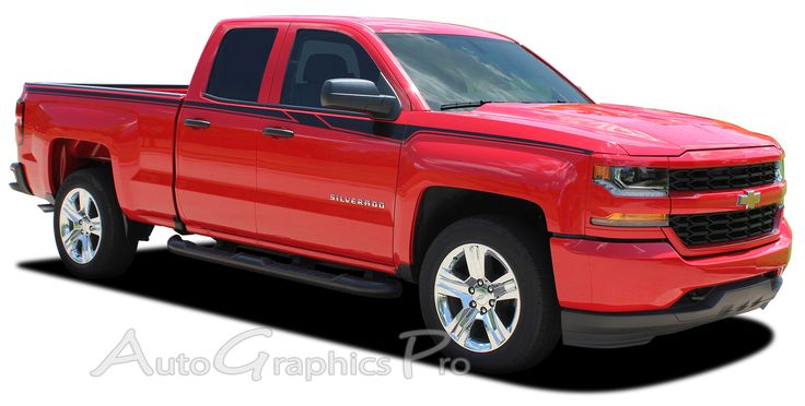 "2014-2017 Chevy Silverado Special Edition Rally ""ACCELERATOR"" Truck Upper Body Accent Stripes Side Door Vinyl Graphics Kit  Vinyl Graphic Stripes Decals Kits Vehicle Specific Accent Striping Decal Packages 