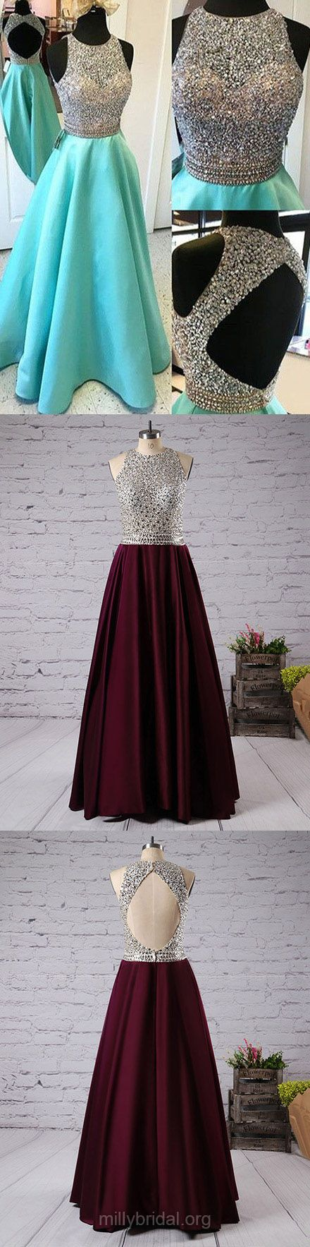 Long Prom Dresses, 2018 Prom Dresses For Teens, Unique A-line Prom Dresses Scoop Neck, Satin Prom Dresses Tulle with Beading, Open Back Prom Dresses Modest