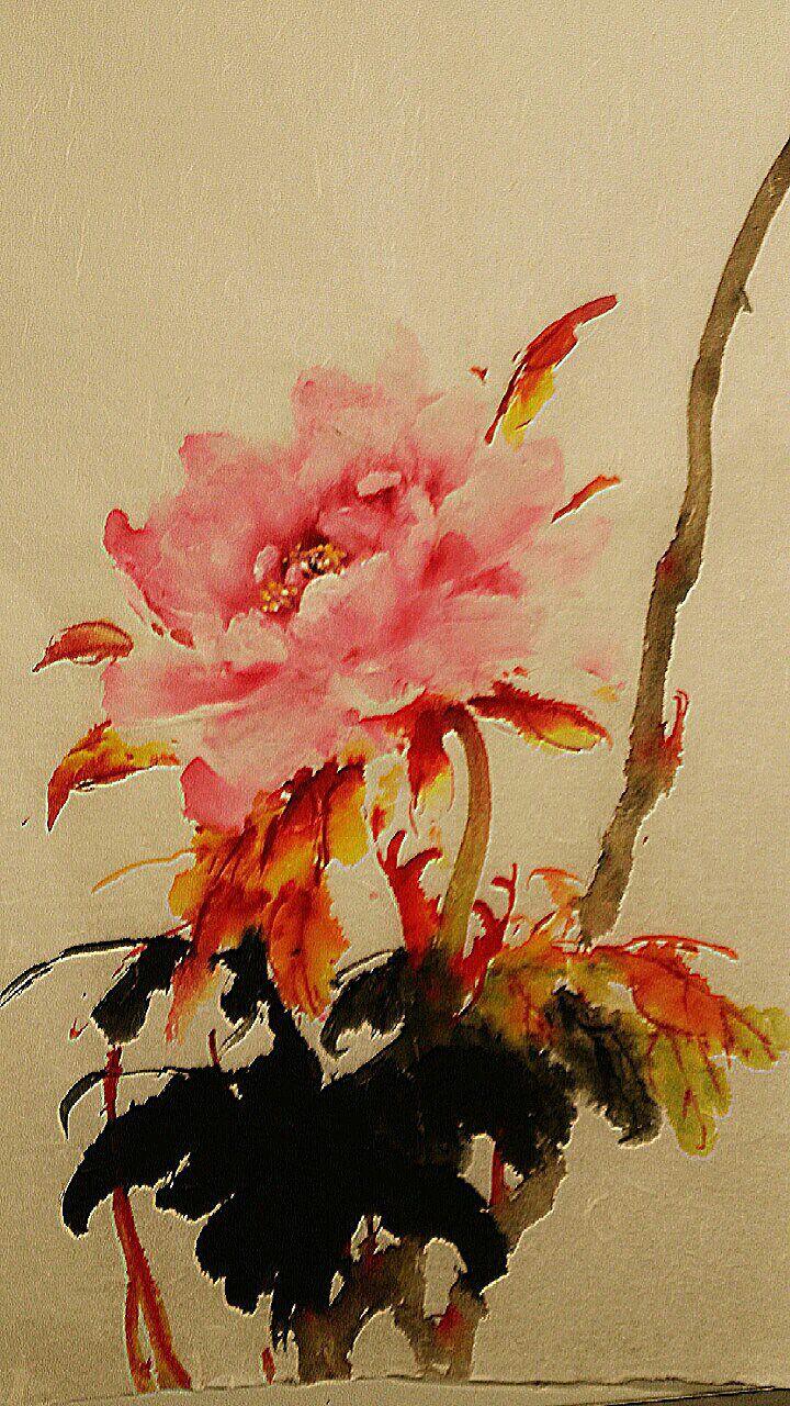 Watercolor art history brush - Peony