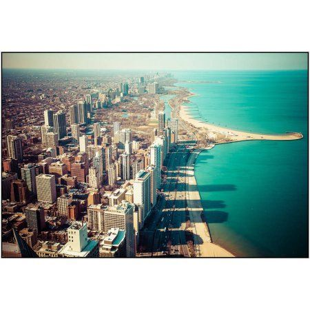 Aerial View of Chicago Photography by Eazl, Size: 24 x 16, White