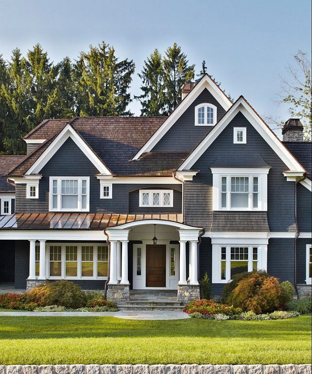 Love the dark blue color of this siding with the white trim & white windows. #ApexExteriors