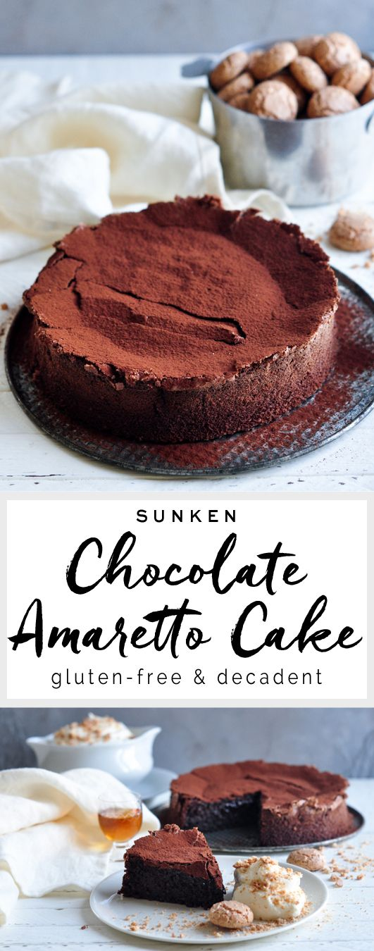 Sunken Chocolate Amaretto Cake from Nigella Lawson