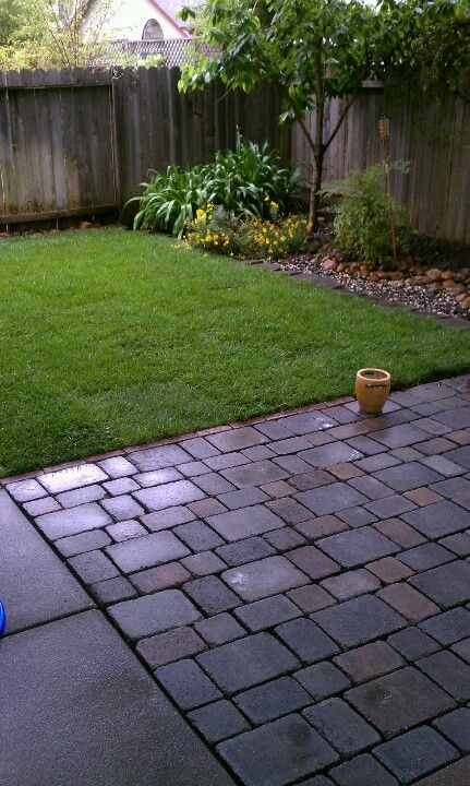 Add pavers next to a small patio area for more room. What a great idea to expand our patio space.