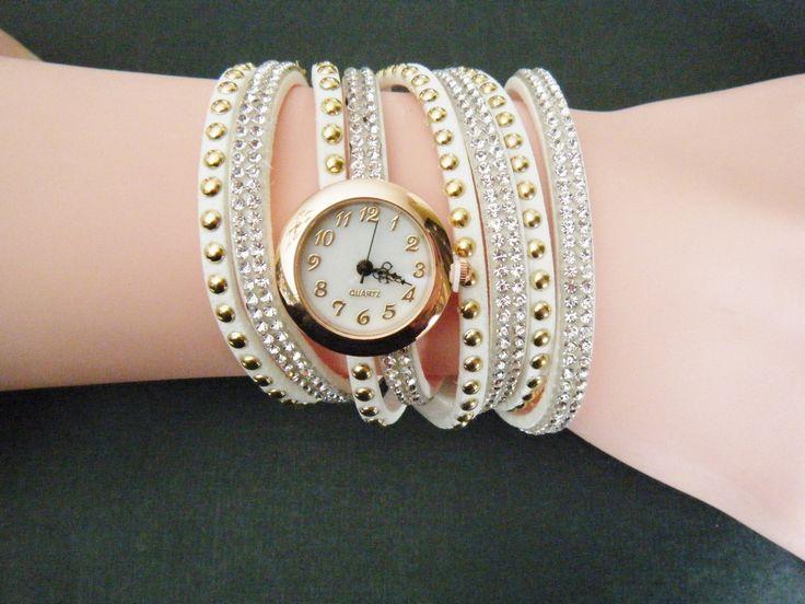White Woman Stunning Rhinestone Wrap Fashion Bracelet