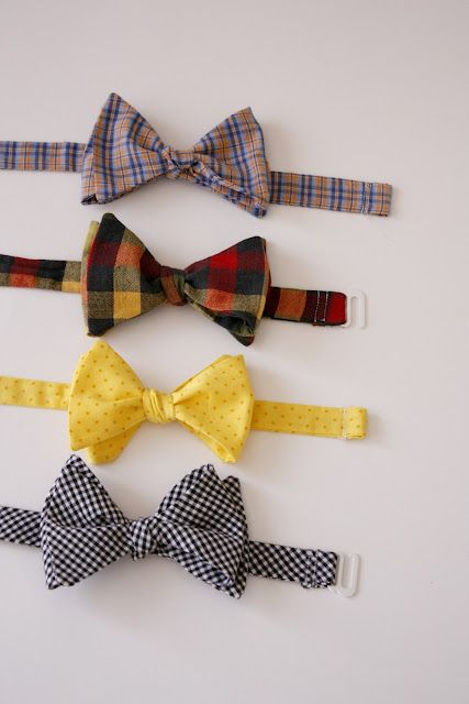 """Lil Mister Bow Tie"" from deliacreates.blogspot.com. Sew real bow ties. Tutorial includes some ideas for making them more comfortable and instructions on how to tie them."