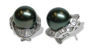 18K white gold voyage Black Tahitian cultured pearl and diamond earring