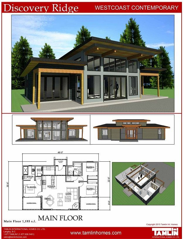 SPECIAL PRICE in USD  $83,200 (subject to exchange rate) House Package Regular Price  $120,900  CDN  Sale Price: $110,900 CDN  Welcome to Discovery Ridge – This contemporary home is another Tamlin original and is very popular.  The functional one level layout consists of 1193 square feet, 3 bedrooms, 2 full baths, open concept, spacious, living room, dining room and kitchen all at your convenience. This home features a low sloped roof , generous roof overhangs, and covered decks. The vaulted…
