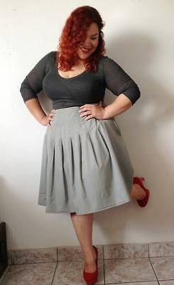 sassy grey skirt Big beautiful curvy real women, real sizes with curves, accept your body sizes, love yourself no guilt, plus size, body conscientiousness fashion, Fragyl Mari embraces you!
