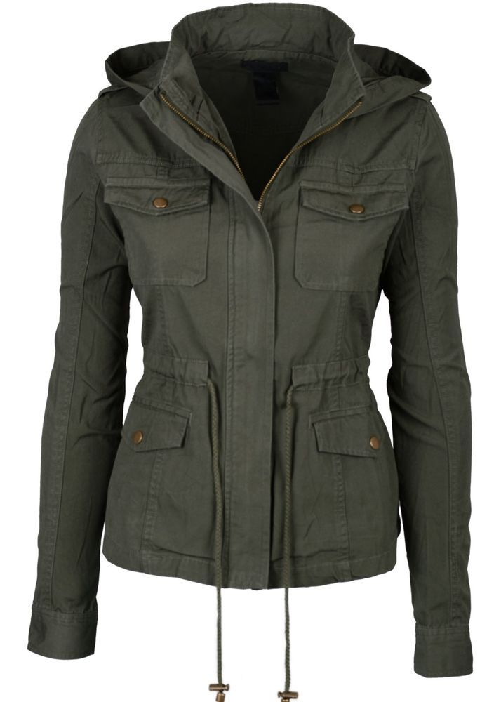 New Womens Green Fashion Pocket Utility Jacket with Collar and Removable Hood in Clothing, Shoes & Accessories, Clothing, Shoes & Accessories | eBay
